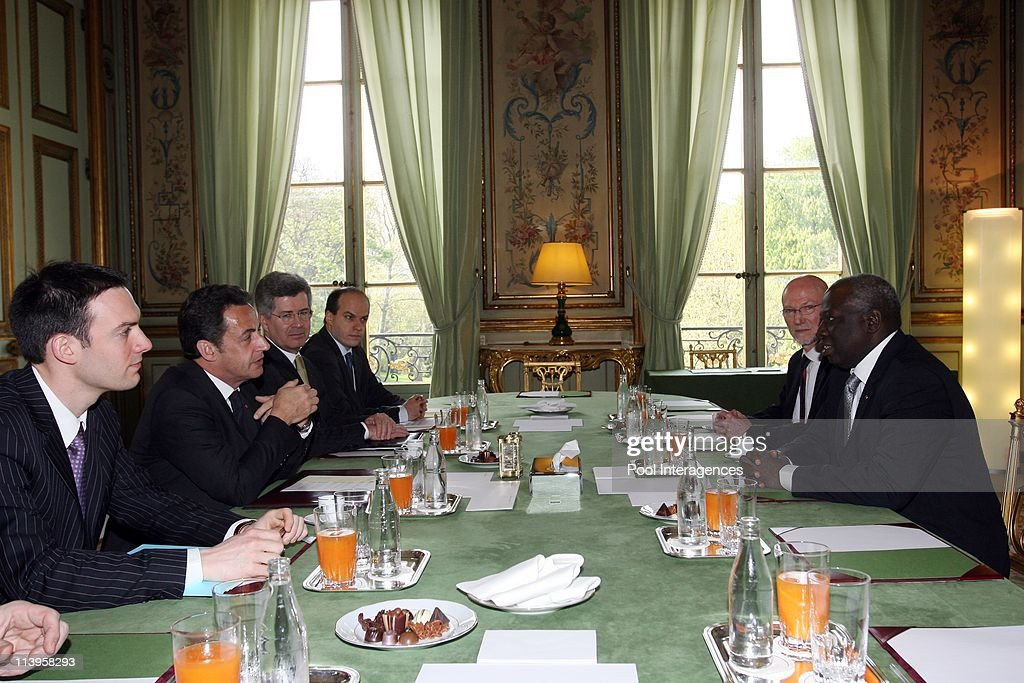 Director-General <a gi-track='captionPersonalityLinkClicked' href=/galleries/search?phrase=Jacques+Diouf&family=editorial&specificpeople=632850 ng-click='$event.stopPropagation()'>Jacques Diouf</a> meets with President Sarkozy in Paris, France on April 22, 2008-French President <a gi-track='captionPersonalityLinkClicked' href=/galleries/search?phrase=Nicolas+Sarkozy&family=editorial&specificpeople=211375 ng-click='$event.stopPropagation()'>Nicolas Sarkozy</a> (2nd L) alongside his diplomatic advisor Jean-David Levitte (3rd L) during a meeting with Director-General for Food and Agriculture Organization of the United Nations (FAO) <a gi-track='captionPersonalityLinkClicked' href=/galleries/search?phrase=Jacques+Diouf&family=editorial&specificpeople=632850 ng-click='$event.stopPropagation()'>Jacques Diouf</a> (R), at the Elysee Palace.