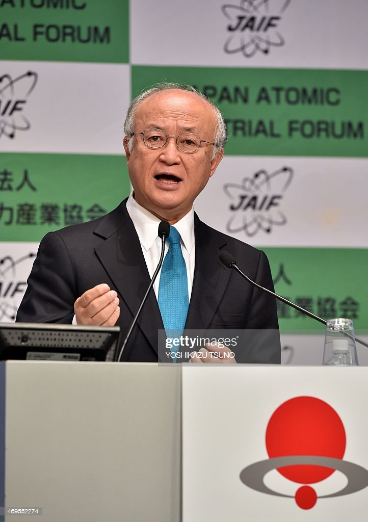 Director-general of the International Atomic Energy Agency (IAEA), <a gi-track='captionPersonalityLinkClicked' href=/galleries/search?phrase=Yukiya+Amano&family=editorial&specificpeople=771232 ng-click='$event.stopPropagation()'>Yukiya Amano</a>, delivers a speech at a conference of the Japan Atomic Industrial Forum (JAIF) in Tokyo on April 13, 2015. Japan's pro-nuclear lobby on April 13 pledged that 2015 would be the year reactors are restarted, despite public wariness that has lingered since the Fukushima disaster. AFP PHOTO / Yoshikazu TSUNO