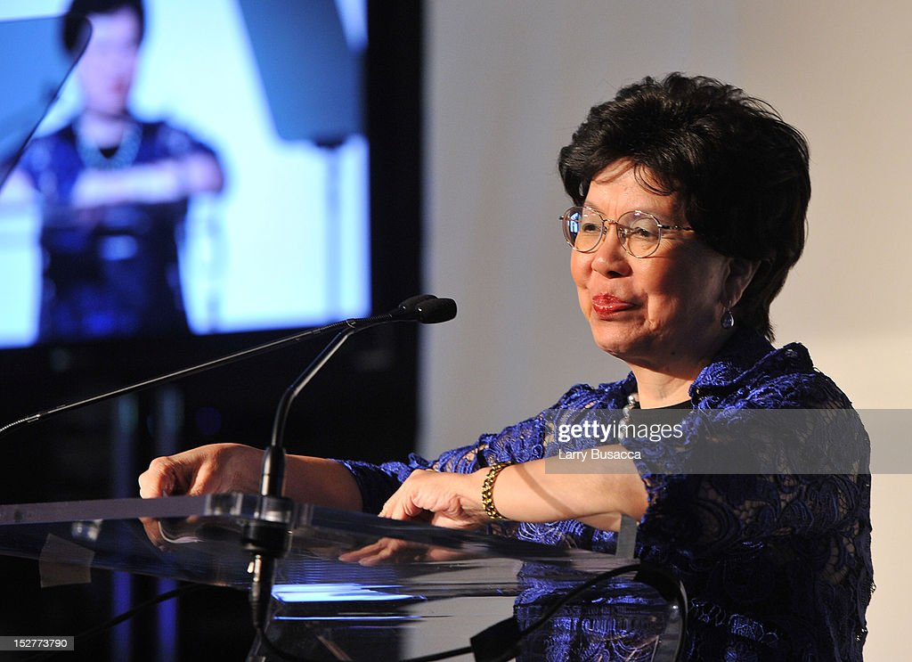 Director-General of the World Health Organization Dr. Margaret Chan speaks onstage at the United Nations Every Woman Every Child Dinner 2012 on September 25, 2012 in New York, United States.