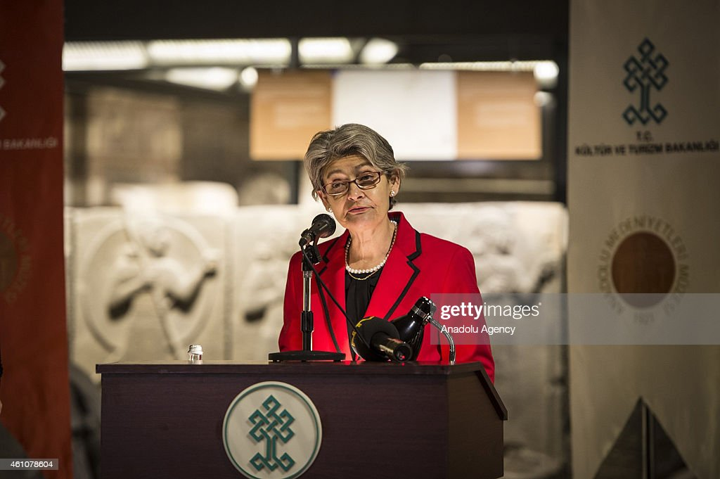 Director-General of UNESCO <a gi-track='captionPersonalityLinkClicked' href=/galleries/search?phrase=Irina+Bokova&family=editorial&specificpeople=6324408 ng-click='$event.stopPropagation()'>Irina Bokova</a> (R) attends a ceremony to present the World Heritage Certificates for the newly inscribed sites of Pergamon Multi-layered Cultural Landscape and Bursa and Cumalikizik: the Birth of an Empire on the UNESCO World Heritage List, at the Museum of Anatolian Civilizations in Ankara, Turkey on January 06, 2015.