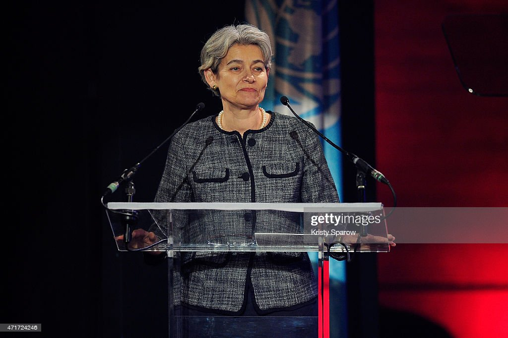 Director-General of UNESCO, <a gi-track='captionPersonalityLinkClicked' href=/galleries/search?phrase=Irina+Bokova&family=editorial&specificpeople=6324408 ng-click='$event.stopPropagation()'>Irina Bokova</a> speaks on stage during the International Jazz Day 2015 Global Concert at UNESCO on April 30, 2015 in Paris, France.