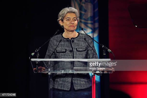 DirectorGeneral of UNESCO Irina Bokova speaks on stage during the International Jazz Day 2015 Global Concert at UNESCO on April 30 2015 in Paris...