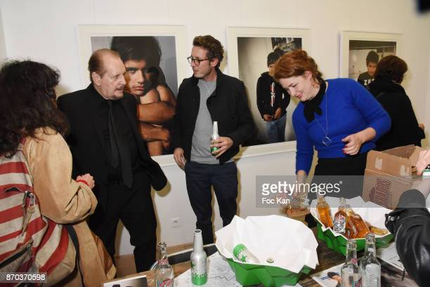 Director/painter Larry Clark PR Sarah Aguilar and guests attend the Larry Clark and Jonathan Velasquez Photo Exhibition at Galerie Rue Andre Antoine...