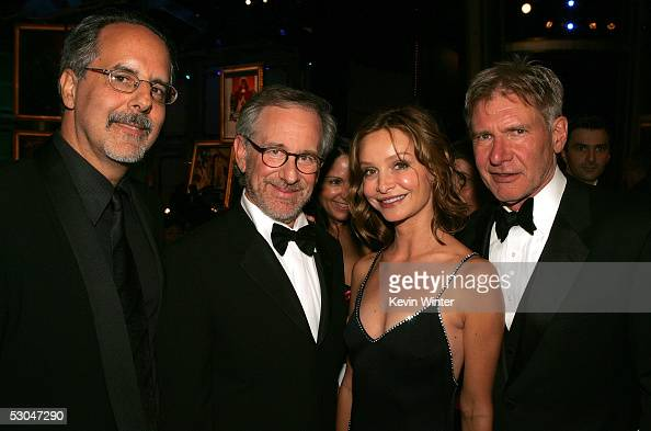 Director/producer and AFI board director Jon Avnet director Steven Spielberg actress Calista Flockhart and actor Harrison Ford pose during the 33rd...