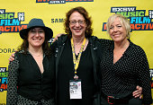 Director/producer Athina Rachel Tsangari SXSW Film Director Janet Pierson and producer Sarah Green attend 'A Conversation with Sarah Green' during...