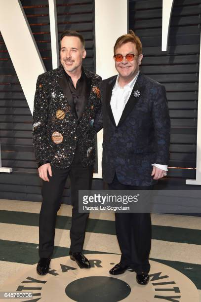 Directorproducer David Furnish and recording artist Elton John attend the 2017 Vanity Fair Oscar Party hosted by Graydon Carter at Wallis Annenberg...