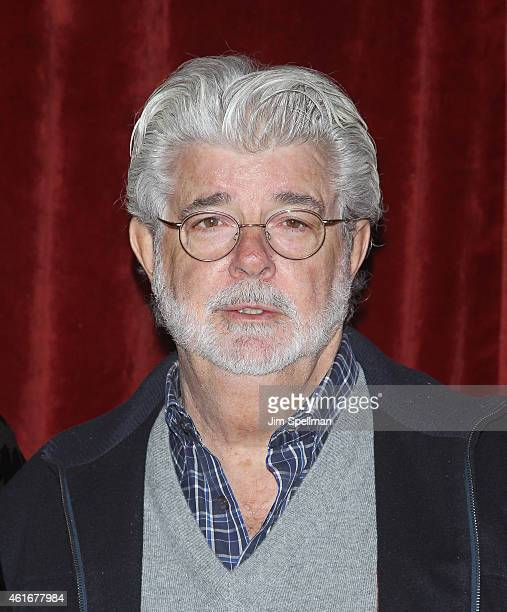 Director/producer George Lucas attends the Lucasfilm Touchstone Pictures with The Cinema Society host a screening of 'Strange Magic' at Tribeca Grand...