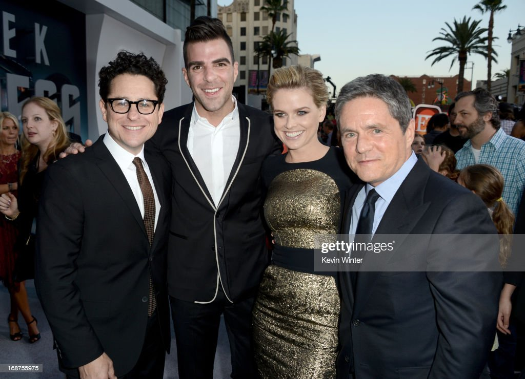 Director/Producer <a gi-track='captionPersonalityLinkClicked' href=/galleries/search?phrase=J.J.+Abrams&family=editorial&specificpeople=253632 ng-click='$event.stopPropagation()'>J.J. Abrams</a>, actors <a gi-track='captionPersonalityLinkClicked' href=/galleries/search?phrase=Zachary+Quinto&family=editorial&specificpeople=715956 ng-click='$event.stopPropagation()'>Zachary Quinto</a>, <a gi-track='captionPersonalityLinkClicked' href=/galleries/search?phrase=Alice+Eve&family=editorial&specificpeople=570229 ng-click='$event.stopPropagation()'>Alice Eve</a> and Chairman and CEO of Paramount Pictures <a gi-track='captionPersonalityLinkClicked' href=/galleries/search?phrase=Brad+Grey&family=editorial&specificpeople=220255 ng-click='$event.stopPropagation()'>Brad Grey</a> arrive at the Premiere of Paramount Pictures' 'Star Trek Into Darkness' at Dolby Theatre on May 14, 2013 in Hollywood, California.