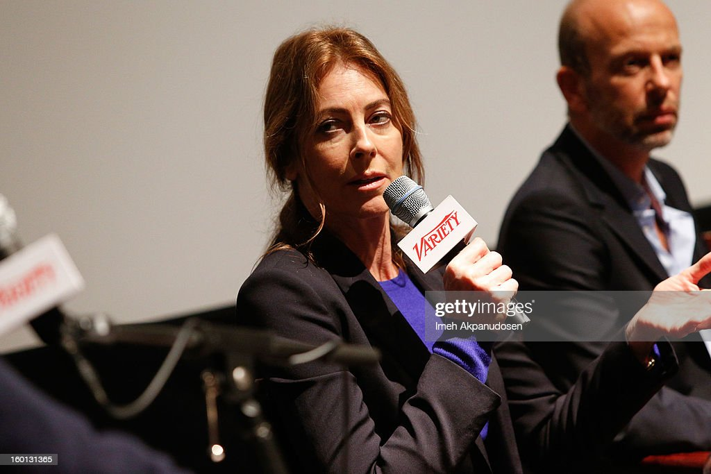 Director/producer <a gi-track='captionPersonalityLinkClicked' href=/galleries/search?phrase=Kathryn+Bigelow&family=editorial&specificpeople=1278119 ng-click='$event.stopPropagation()'>Kathryn Bigelow</a> attends the Producers Guild Awards Nominees Breakfast at the Landmark Theater on January 26, 2013 in Los Angeles, California.