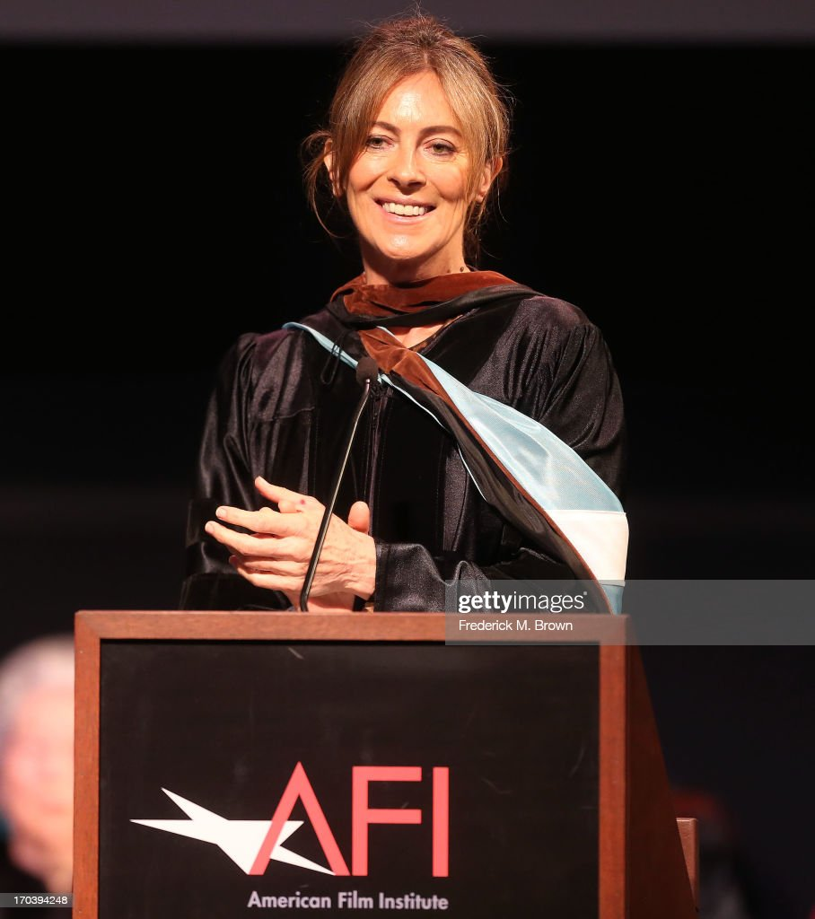 Director/producer <a gi-track='captionPersonalityLinkClicked' href=/galleries/search?phrase=Kathryn+Bigelow&family=editorial&specificpeople=1278119 ng-click='$event.stopPropagation()'>Kathryn Bigelow</a> speaks during the 2013 AFI Conservatory Commencement Ceremony at the El Capitan Theatre on June 12, 2013 in Hollywood, California.