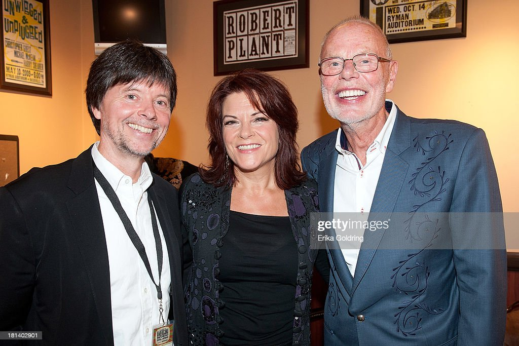 Director/Producer Ken Burns, musician Rosanne Cash and BBC's Bob Harris backstage at the 12th Annual Americana Music Honors And Awards Ceremony Presented By Nissan on September 18, 2013 in Nashville, United States.
