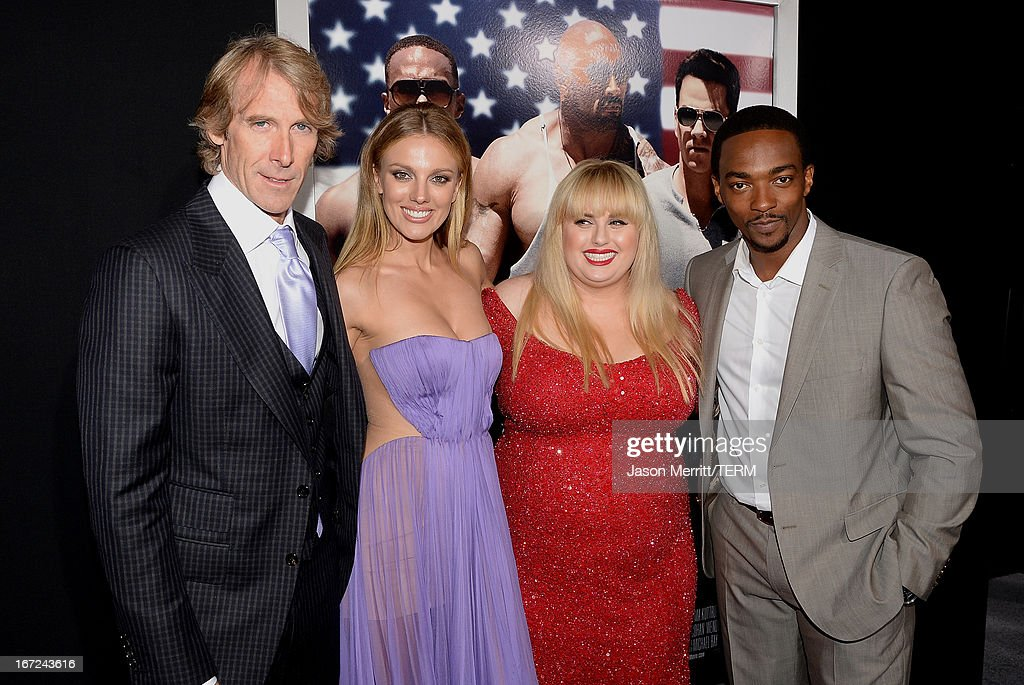 (L-R Director/producer Michael Bay, actors Bar Paly, Rebel Wilson and Anthony Mackie arrive at the premiere of Paramount Pictures' 'Pain & Gain' at TCL Chinese Theatre on April 22, 2013 in Hollywood, California.
