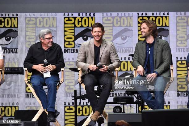 Director/producer Robert Singer actors Jensen Ackles and Jared Padalecki at the 'Supernatural' panel during ComicCon International 2017 at San Diego...