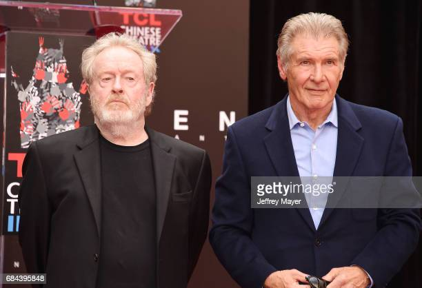 Director/producer Sir Ridley Scott and actor Harrison Ford attend the Sir Ridley Scott Hand and Footprint Ceremony at TCL Chinese Theatre IMAX on May...