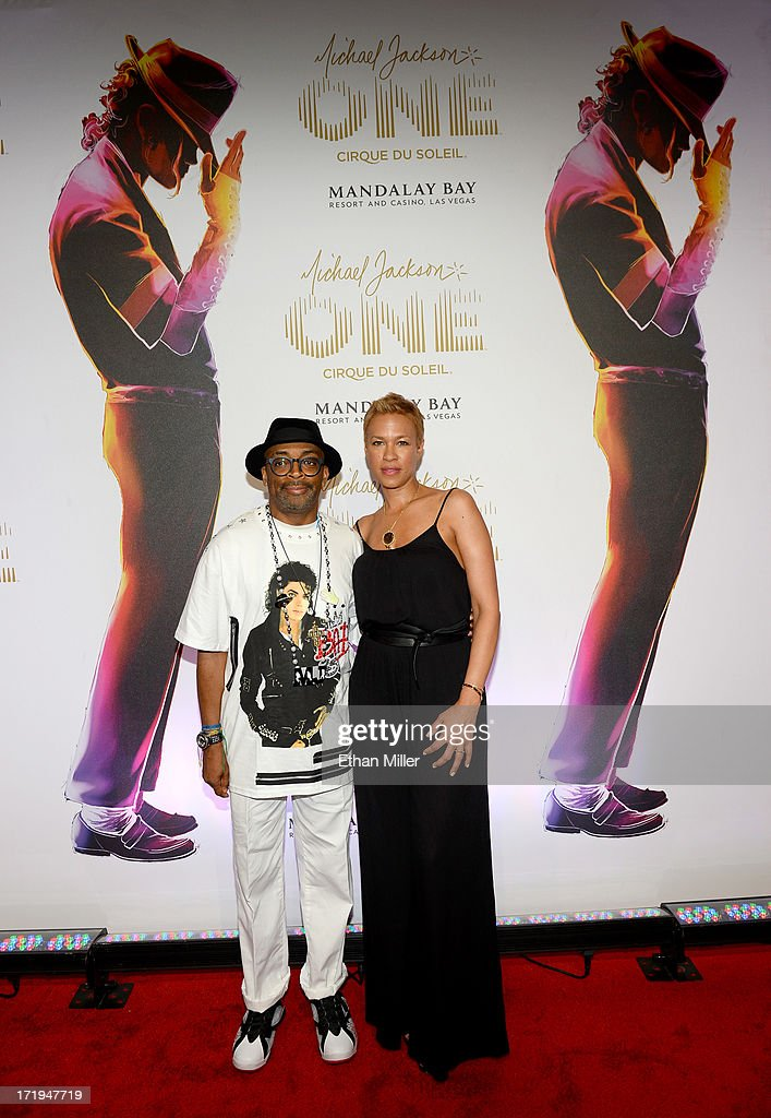 Director/producer <a gi-track='captionPersonalityLinkClicked' href=/galleries/search?phrase=Spike+Lee&family=editorial&specificpeople=156419 ng-click='$event.stopPropagation()'>Spike Lee</a> (L) and producer <a gi-track='captionPersonalityLinkClicked' href=/galleries/search?phrase=Tonya+Lewis+Lee&family=editorial&specificpeople=591625 ng-click='$event.stopPropagation()'>Tonya Lewis Lee</a> arrive at the world premiere of 'Michael Jackson ONE by Cirque du Soleil' at THEhotel at Mandalay Bay on June 29, 2013 in Las Vegas, Nevada.