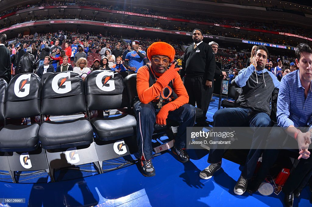 Director/Producer, Spike Lee looks on before the game played between the New York Knicks and the Philadelphia 76ers at the Wells Fargo Center on January 26, 2013 in Philadelphia, Pennsylvania.