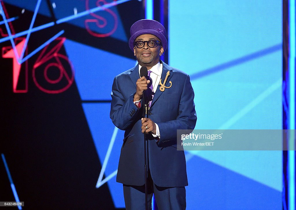 Director/producer <a gi-track='captionPersonalityLinkClicked' href=/galleries/search?phrase=Spike+Lee&family=editorial&specificpeople=156419 ng-click='$event.stopPropagation()'>Spike Lee</a> speaks onstage during the 2016 BET Awards at the Microsoft Theater on June 26, 2016 in Los Angeles, California.