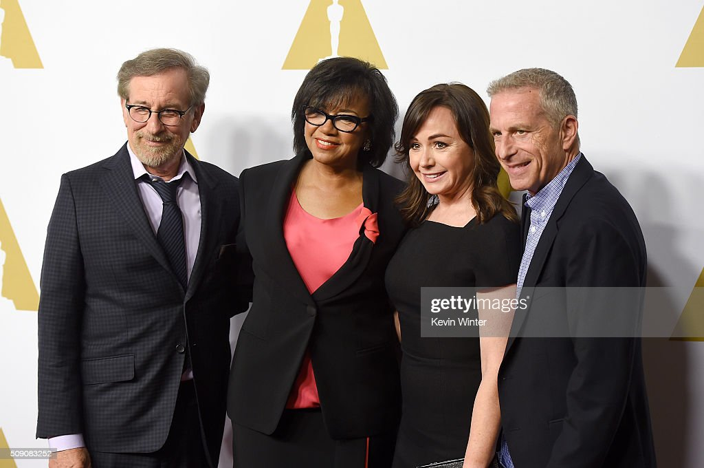 Director/producer <a gi-track='captionPersonalityLinkClicked' href=/galleries/search?phrase=Steven+Spielberg&family=editorial&specificpeople=202022 ng-click='$event.stopPropagation()'>Steven Spielberg</a>, Academy of Motion Picture Arts and Sciences President <a gi-track='captionPersonalityLinkClicked' href=/galleries/search?phrase=Cheryl+Boone+Isaacs&family=editorial&specificpeople=725500 ng-click='$event.stopPropagation()'>Cheryl Boone Isaacs</a>, producer <a gi-track='captionPersonalityLinkClicked' href=/galleries/search?phrase=Kristie+Macosko+Krieger&family=editorial&specificpeople=15320686 ng-click='$event.stopPropagation()'>Kristie Macosko Krieger</a> and producer Marc Platt attend the 88th Annual Academy Awards nominee luncheon on February 8, 2016 in Beverly Hills, California.