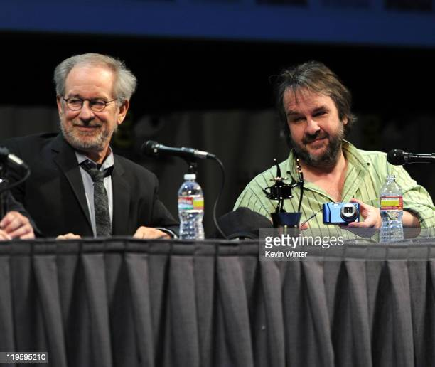 Director/producer Steven Spielberg and director/producer Peter Jackson speak at 'The Adventures Of Tintin' Panel during ComicCon 2011 on July 22 2011...