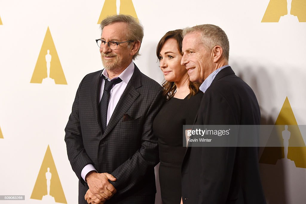 Director/producer <a gi-track='captionPersonalityLinkClicked' href=/galleries/search?phrase=Steven+Spielberg&family=editorial&specificpeople=202022 ng-click='$event.stopPropagation()'>Steven Spielberg</a>, producer <a gi-track='captionPersonalityLinkClicked' href=/galleries/search?phrase=Kristie+Macosko+Krieger&family=editorial&specificpeople=15320686 ng-click='$event.stopPropagation()'>Kristie Macosko Krieger</a> and producer Marc Platt attend the 88th Annual Academy Awards nominee luncheon on February 8, 2016 in Beverly Hills, California.