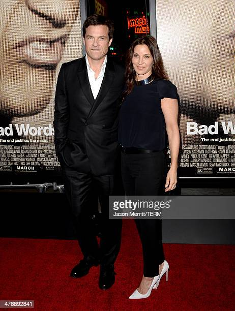 Director/producer/actor Jason Bateman and actress Amanda Anka arrive at the premiere of Focus Features' 'Bad Words' at ArcLight Cinemas Cinerama Dome...