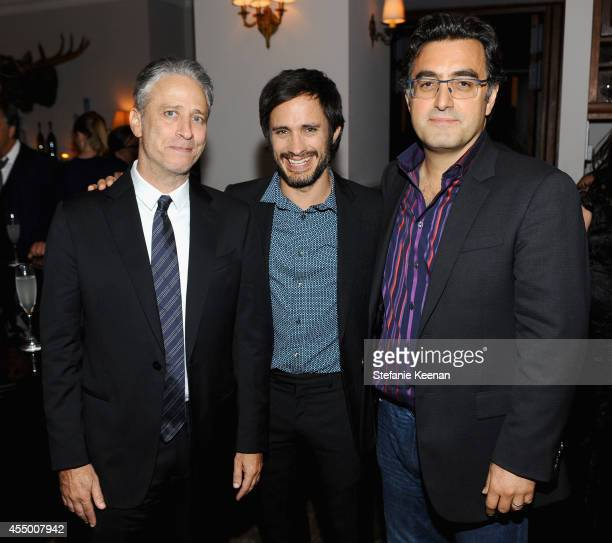 Director/producer/actor Jon Stewart actor Gael Garcia Bernal and journalist Maziar Bahari at the 'Rosewater' premiere party hosted by GREY GOOSE...