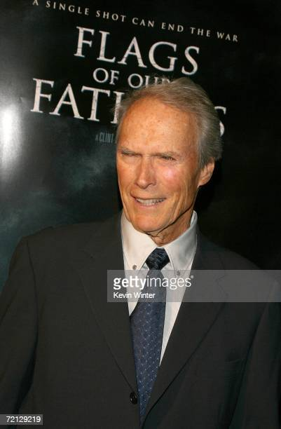 Director/producer/composer Clint Eastwood arrives at the Paramount Pictures premiere of 'Flags Of Our Fathers' held at the Academy of Motion Picture...