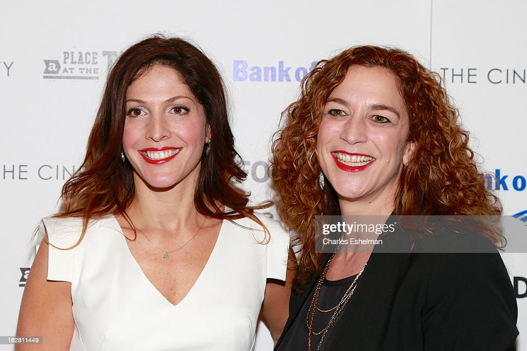 Director/producers <a gi-track='captionPersonalityLinkClicked' href=/galleries/search?phrase=Lori+Silverbush&family=editorial&specificpeople=772818 ng-click='$event.stopPropagation()'>Lori Silverbush</a> and Kristi Jacobson arrive at Bank of America and Food & Wine with The Cinema Society present a screening of 'A Place at the Table' at the Celeste Bartos Theater at the Museum of Modern Art on February 27, 2013 in New York City.