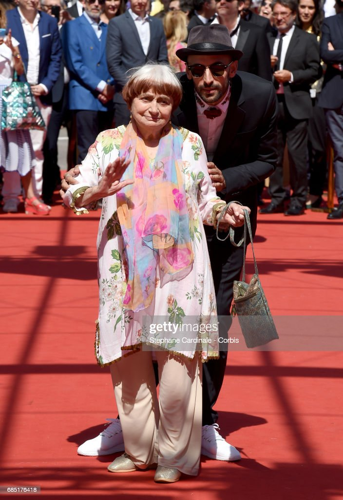 Directors Agnes Varda and JR attend the 'Faces, Places (Visages, Villages)' screening during the 70th annual Cannes Film Festival at Palais des Festivals on May 19, 2017 in Cannes, France.