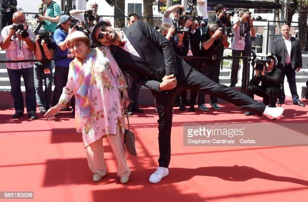 Directors Agnes Varda and JR attend the 'Faces Places ' screening during the 70th annual Cannes Film Festival at Palais des Festivals on May 19 2017...