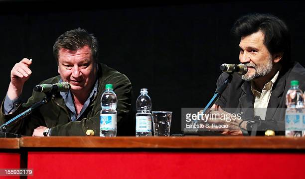 Directors Aki Kaurismaki and Victor Erice attend the 'Centro Historico' Press Conference during The 7th Rome Film Festival at Sala Petrassi on...