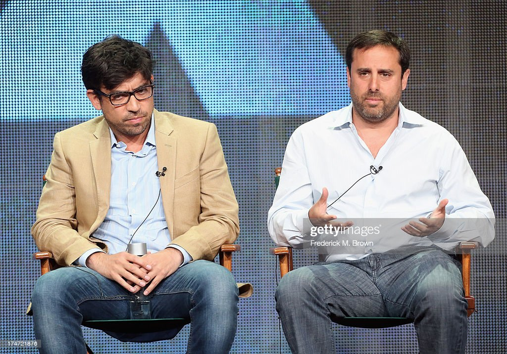 Directors Alfonso Gomez-Rejon and Jeff Schaffer speak onstage during 'FX Directors' panel as part of the 2013 Summer Television Critics Association tour at the Beverly Hilton Hotel on July 28, 2013 in Beverly Hills, California.