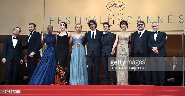 US directors and presidents of the Feature Film jury Ethan Coen and Joel Coen pose with jury members US actor Jake Gyllenhaal Malian singer...