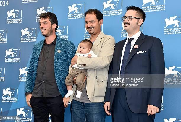 Directors and producers Gabriele del Grande Khaled Soliman al Nassiry and Antonio Augugliaro attend the 'Io Sto Con La Sposa' photocall during the...