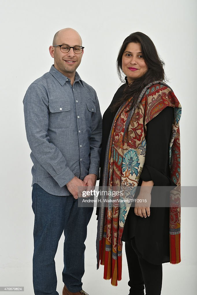 Directors Andy Schocken and <a gi-track='captionPersonalityLinkClicked' href=/galleries/search?phrase=Sharmeen+Obaid-Chinoy&family=editorial&specificpeople=5581145 ng-click='$event.stopPropagation()'>Sharmeen Obaid-Chinoy</a> from 'Song of Lahore' appear at the 2015 Tribeca Film Festival Getty Images Studio on April 20, 2015 in New York City.