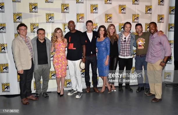 Directors Anthony Russo and Joe Russo actors Scarlett Johansson Samuel L Jackson Chris Evans Cobie Smulders Emily VanCamp Sebastian Stan Frank Grillo...