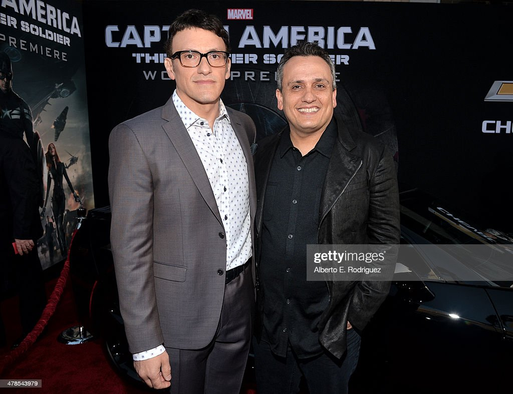 Directors <a gi-track='captionPersonalityLinkClicked' href=/galleries/search?phrase=Anthony+Russo+-+Film+Director&family=editorial&specificpeople=4700486 ng-click='$event.stopPropagation()'>Anthony Russo</a> (L) and <a gi-track='captionPersonalityLinkClicked' href=/galleries/search?phrase=Joe+Russo+-+Director&family=editorial&specificpeople=14327733 ng-click='$event.stopPropagation()'>Joe Russo</a> attend Marvel's 'Captain America: The Winter Soldier' premiere at the El Capitan Theatre on March 13, 2014 in Hollywood, California.
