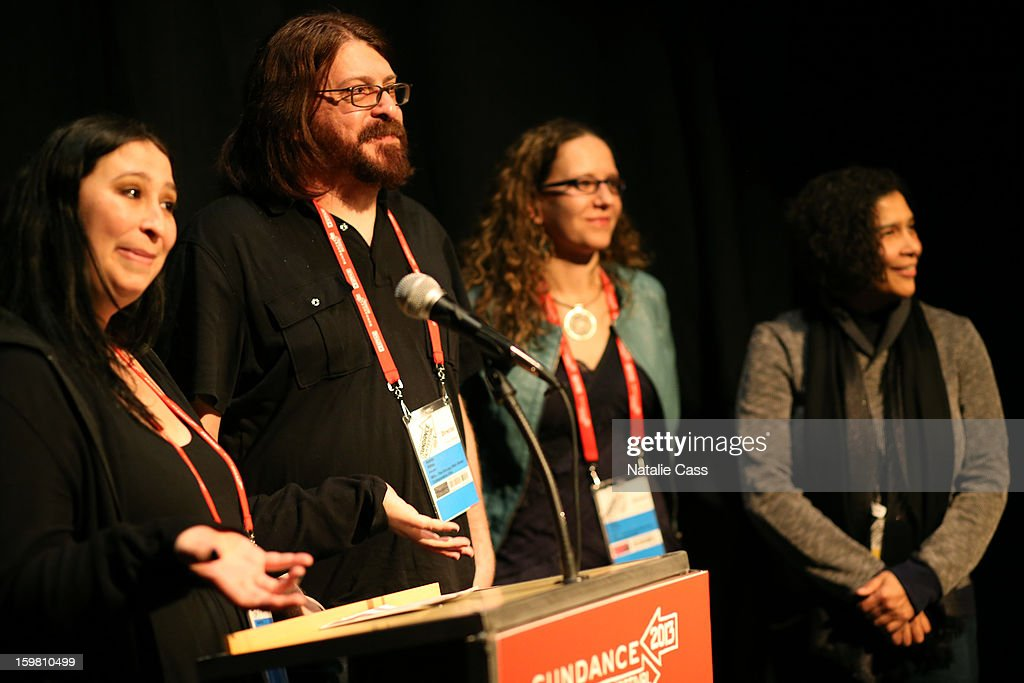 Directors Audrey Ewell, Aaron Aites and Nina Krstic and Senior Programmer Sundance Film Festival & New Frontier at Sundance Shari Frilot speak onstage during the '99% - The Occupy Wall Street Collaborative Film' premiere at Egyptian Theatre during the 2013 Sundance Film Festival on January 20, 2013 in Park City, Utah.