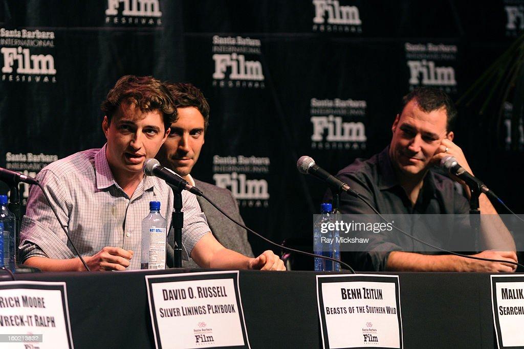 Directors Behn Zeitlin, Malik Bendjelloul and Mark Andrews attend the 28th Santa Barbara International Film Festival Directors Panel on January 26, 2013 in Santa Barbara, California.