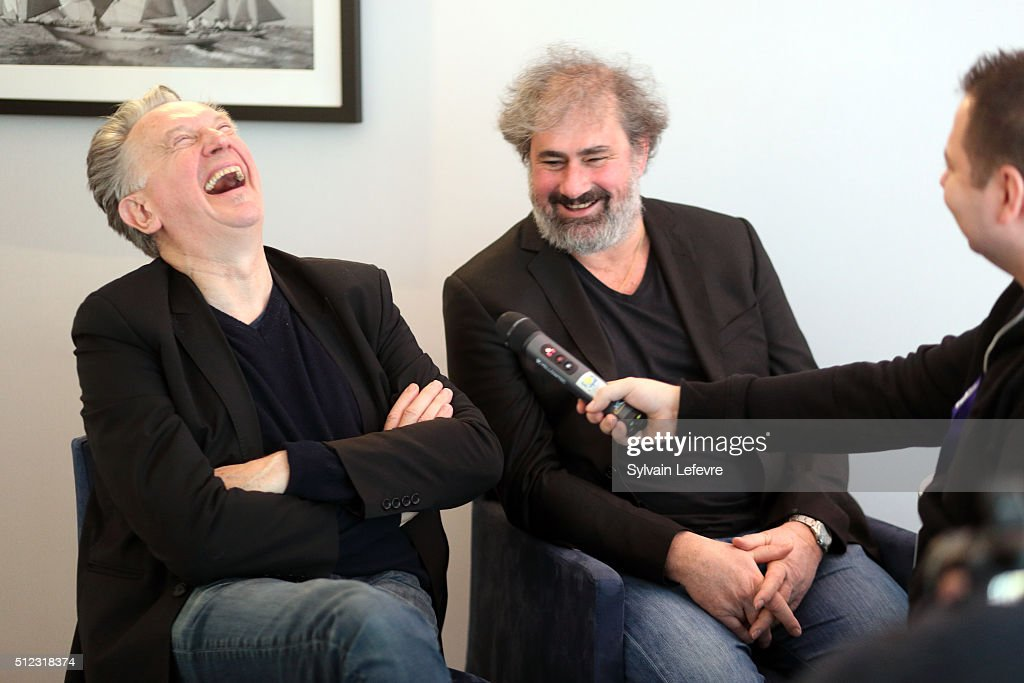 Directors <a gi-track='captionPersonalityLinkClicked' href=/galleries/search?phrase=Benoit+Delepine&family=editorial&specificpeople=624442 ng-click='$event.stopPropagation()'>Benoit Delepine</a> (L) and Gustave Kervern laugh with journalists during Mons Intenational Love Film Festival on February 20, 2016 in Mons, Belgium.