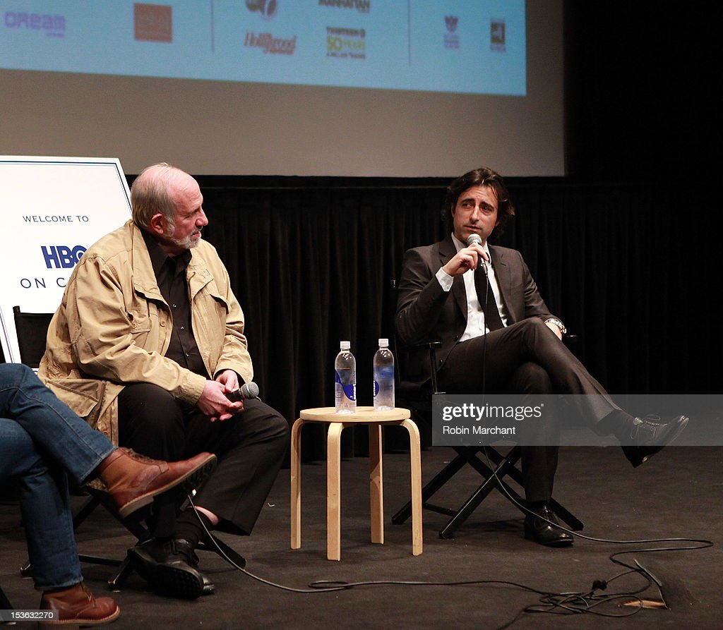 Directors Brian De Palma (L) and Noah Baumbach attend On Cinema during the 50th New York Film Festival at Lincoln Center on October 7, 2012 in New York City.