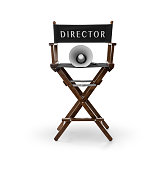 Director's chair and megaphone on white background , Clipping path included