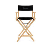 Director's chair isolated on white background. 3D rendering