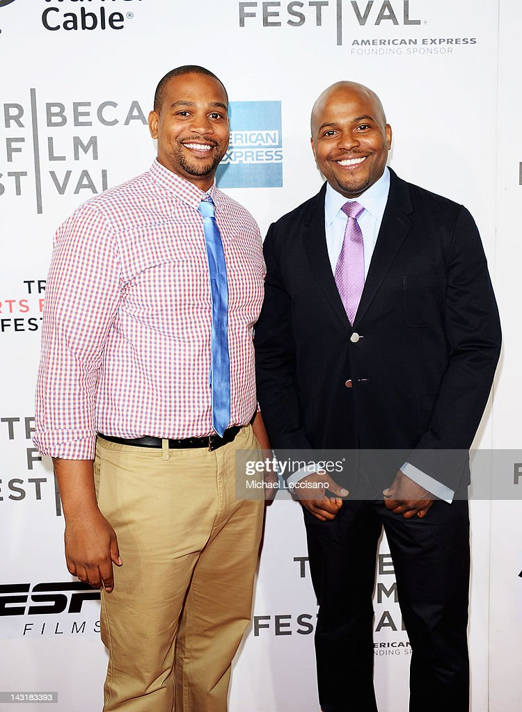 Directors Chike Ozah (L) and Coodie Simmons attend the Tribeca/ESPN Sports Film Festival Gala for Benji during the 2012 Tribeca Film Festival at the Borough of Manhattan Community College on April 20, 2012 in New York City.