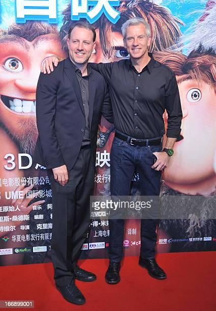 Directors Chris Sanders and Kirk De Micco attend 'The Croods' Beijing premiere on April 18 2013 in Beijing China