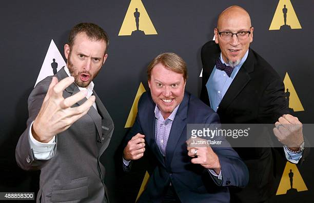 Directors Chris Williams and Don Hall and Producer Roy Conli attend the Academy of Motion Picture Arts and Sciences' 42nd Student Academy Awards on...