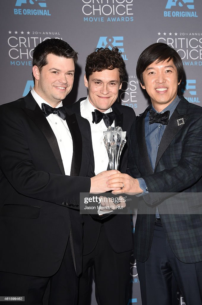 Directors Christopher Miller, <a gi-track='captionPersonalityLinkClicked' href=/galleries/search?phrase=Phil+Lord&family=editorial&specificpeople=884338 ng-click='$event.stopPropagation()'>Phil Lord</a> and producer Dan Lin, winners of Best Animated Feature for 'The Lego Movie', pose in the press room during the 20th annual Critics' Choice Movie Awards at the Hollywood Palladium on January 15, 2015 in Los Angeles, California.