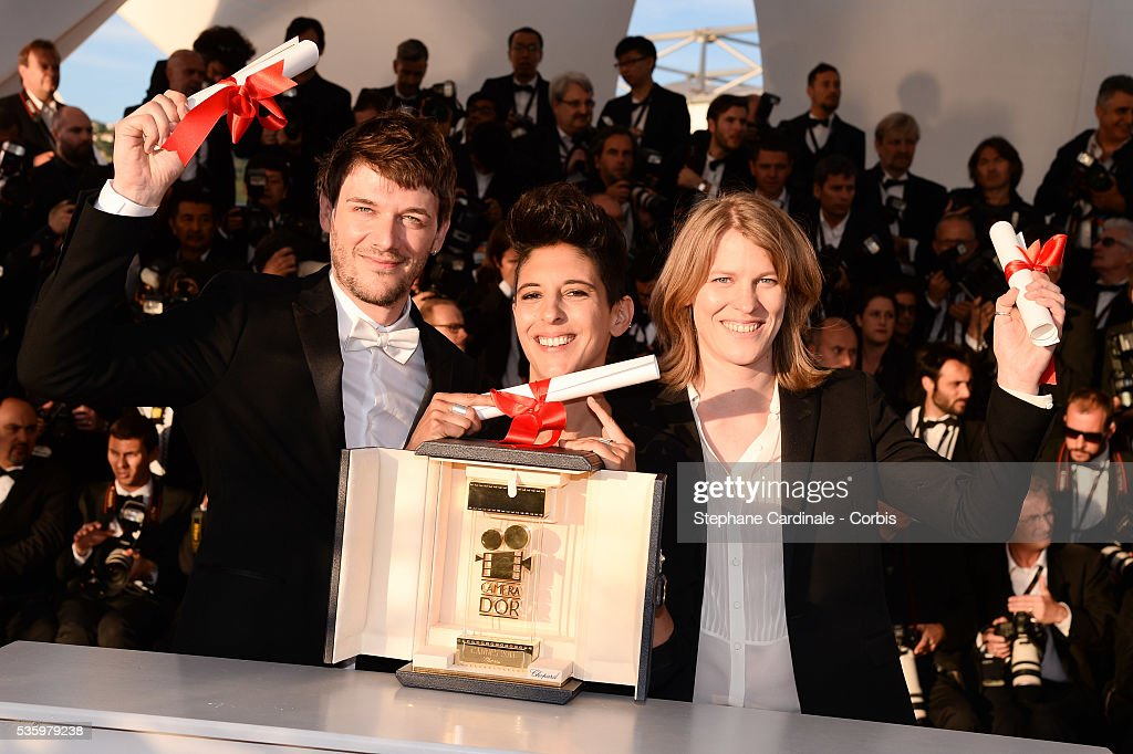 Directors Claire Burger, Marie Amachoukeli-Barsacq and Samuel Theis pose with the Camera d'Or which they won for their film 'Party Girl' at the Winners photocall during 67th Cannes Film Festival