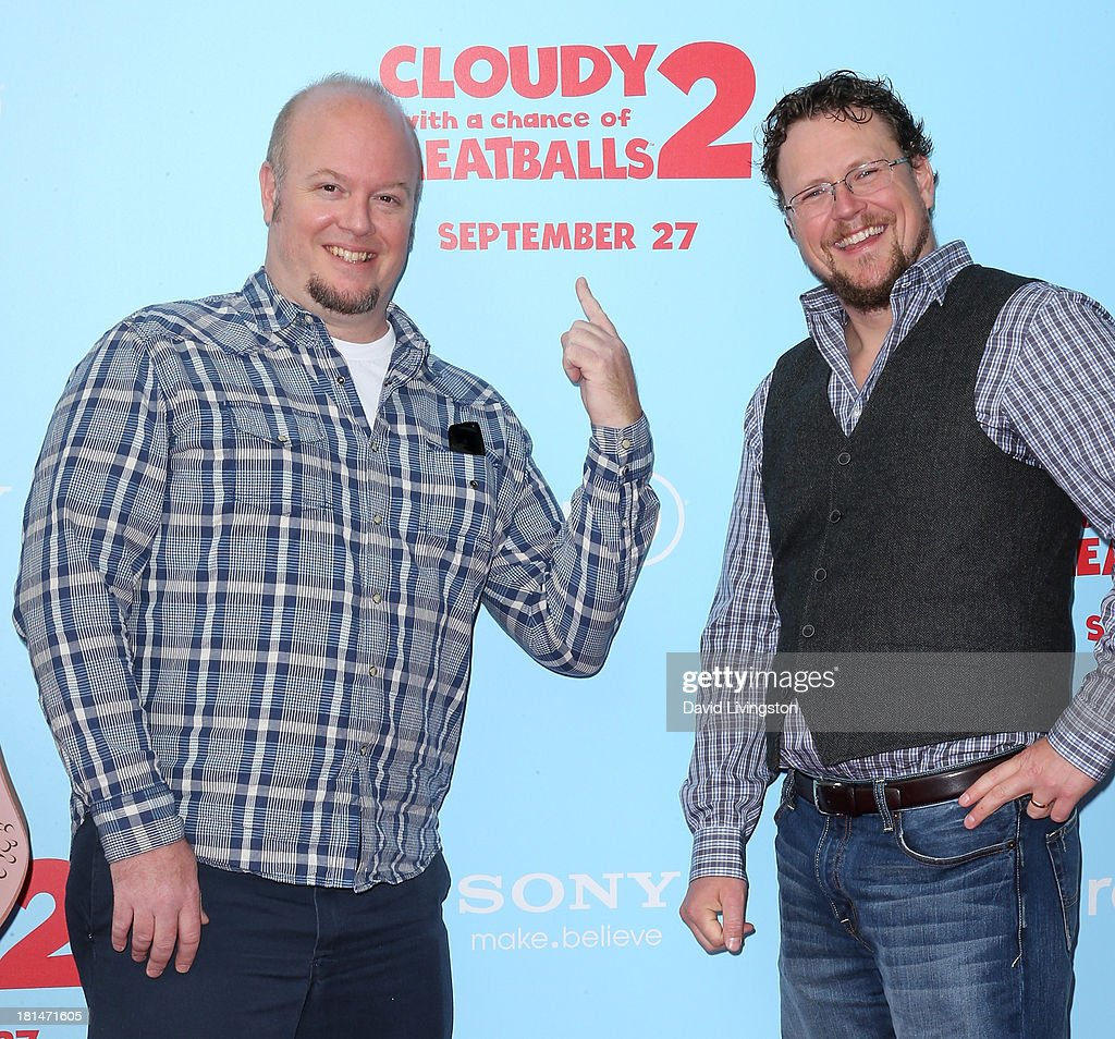 Directors Cody Cameron (L) and Kris Pearn attend the premiere of Columbia Pictures and Sony Pictures Animation's 'Cloudy with a Chance of Meatballs 2' at the Regency Village Theatre on September 21, 2013 in Westwood, California.