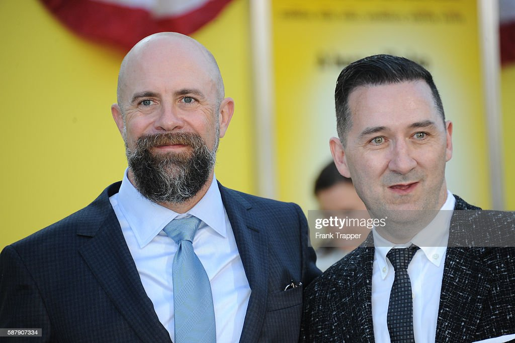 Directors Conrad Vernon and Greg Tiernan attend the premiere of Sony's 'Sausage Party' held at the Regency Village Theater on August 9 2016 in...